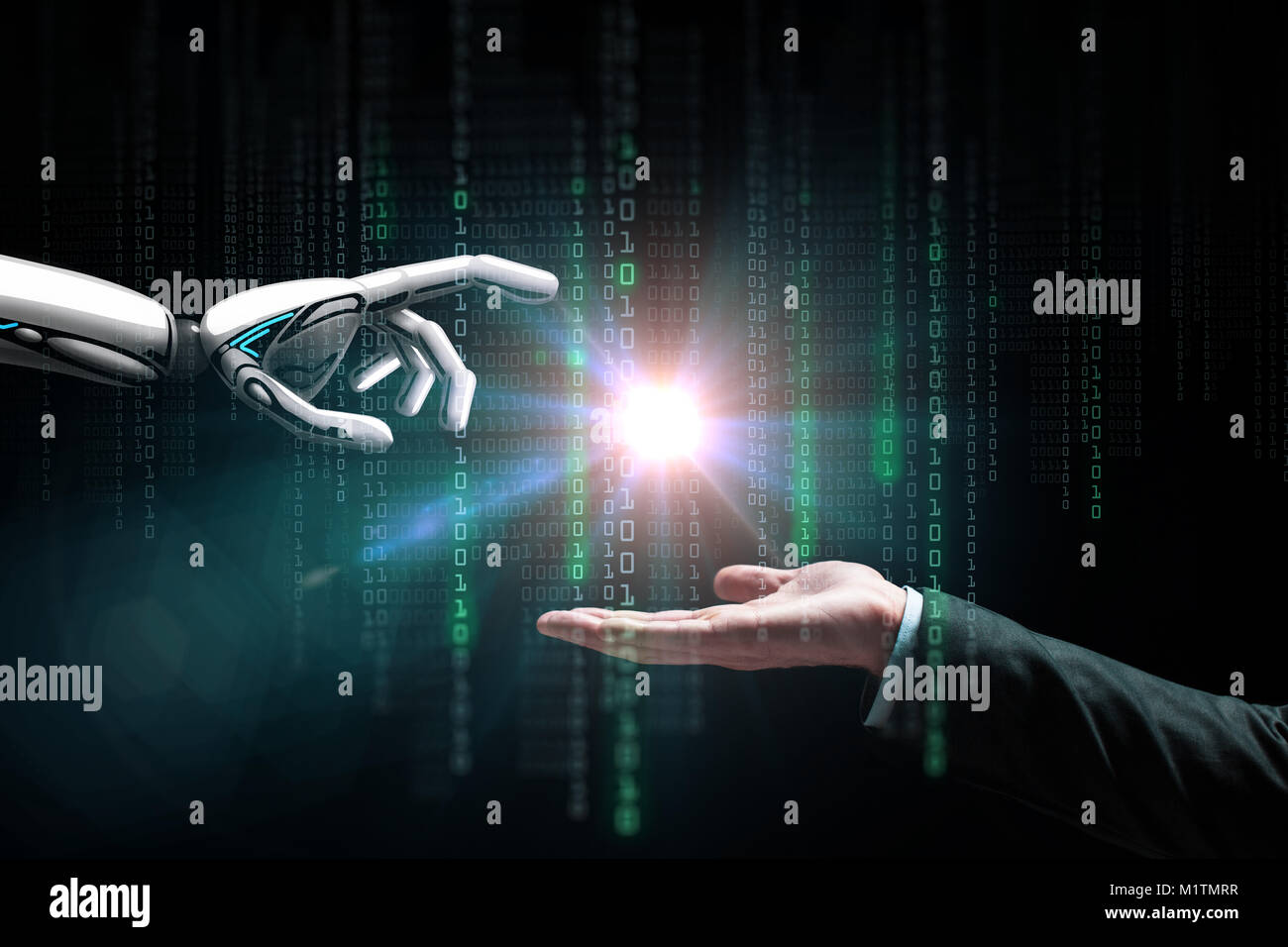 robot and human hand flash light and binary code - Stock Image
