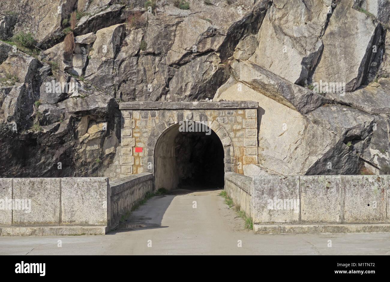 tunnel through mountain side, a winter bat roost  Embalse del Jandula, Parque Natural Sierra de Andujar, Jaen, Spain - Stock Image