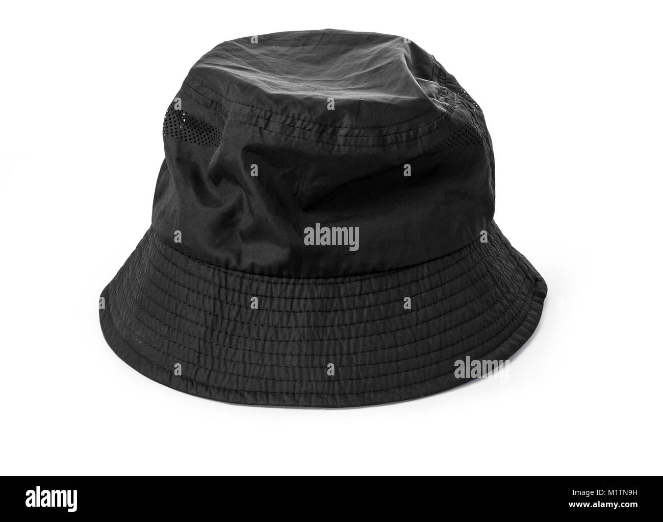 2b0f78b134b50b Blank bucket hat color black on white background, with clipping path - Stock  Image