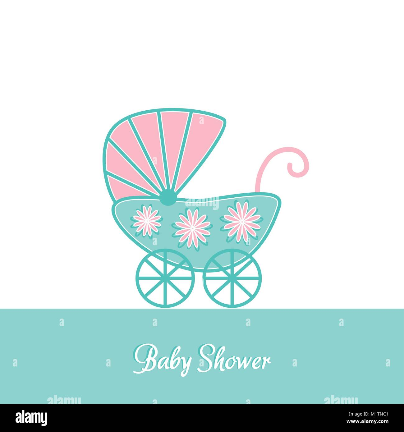 Baby Shower Vintage Invitation Card Template With Stroller