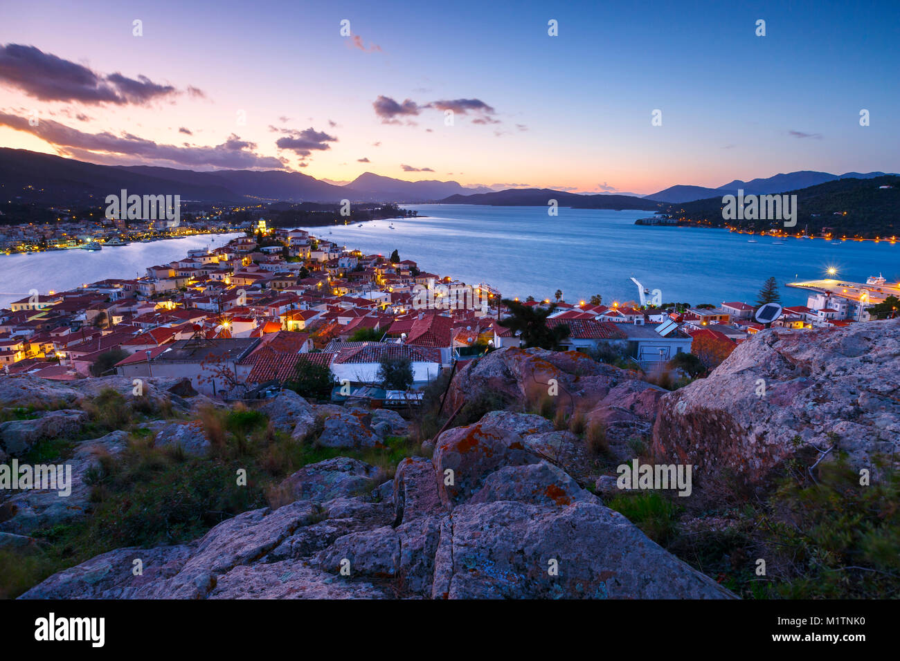 View of Poros island and Galatas village in Peloponnese, Greece. - Stock Image