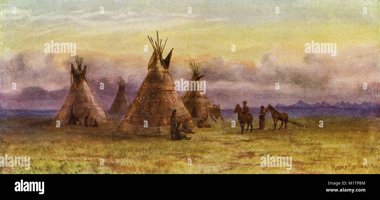 Halftone illustration of North American indians and their wigwams, circa 1900. From an original image in How Other - Stock Image