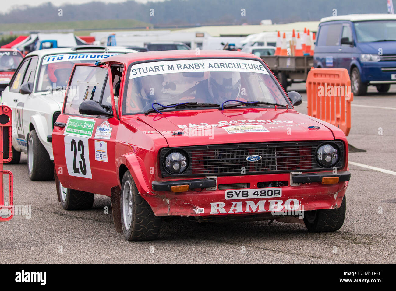 Ford Escort MkII with driver Stuart Ranby and co-driver Ian Bass at the Motorsport News Circuit Rally Championship, Stock Photo