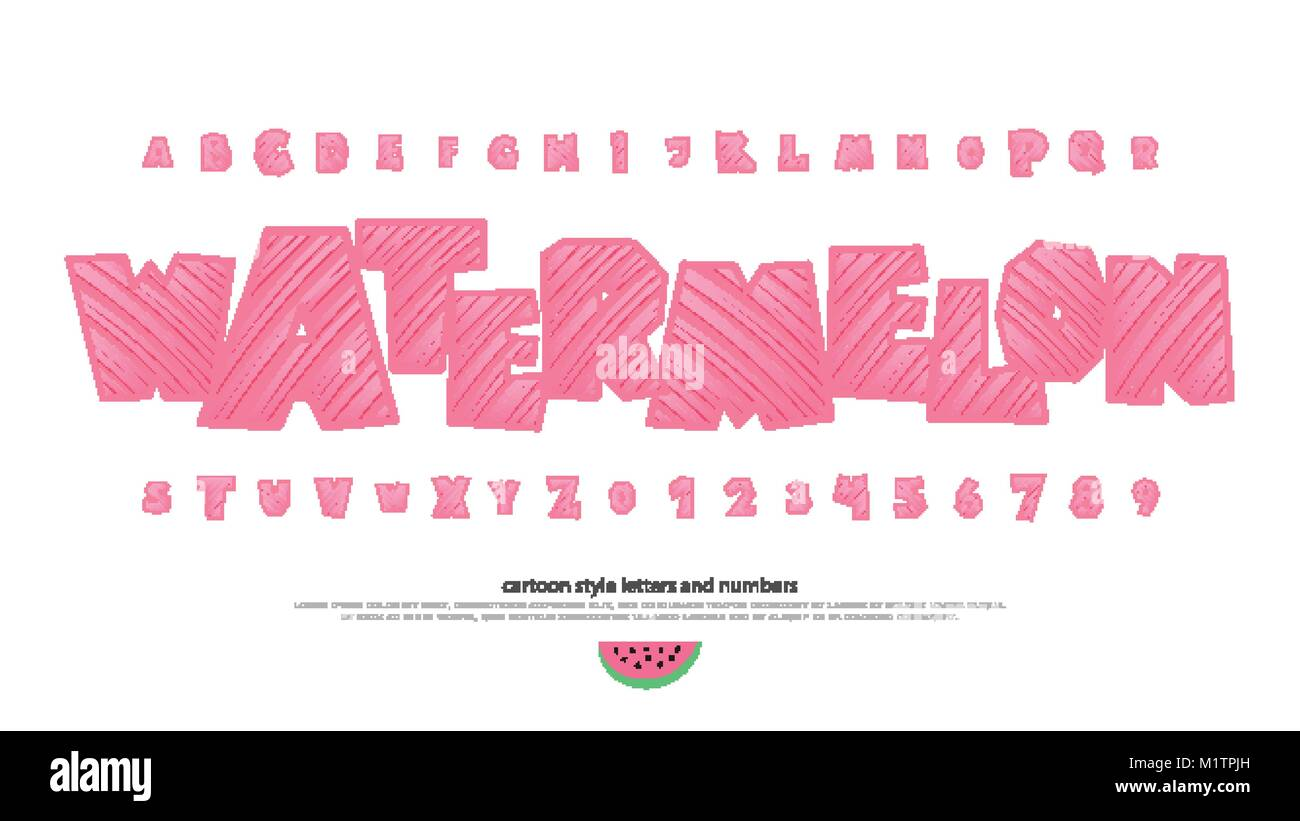 Set Of Summer Stylized Alphabet Letters And Numbers Vector Cartoon Style Font Type Fresh Packaging Typeface Design Cool Watermelon Decorative Typ