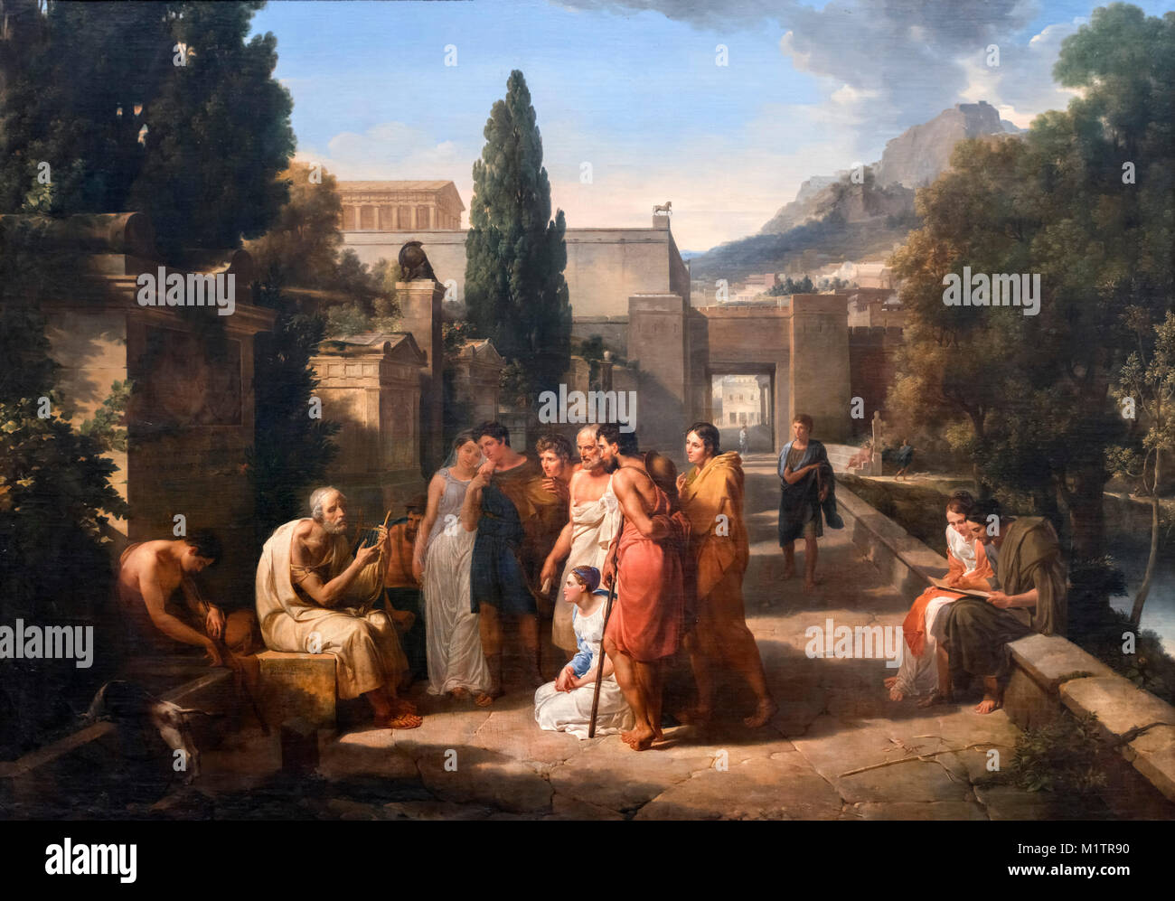Homer Singing His Iliad at the Gate of Athens by Guillaume Lethiere (1760-1832), oil on canvas, 1811. - Stock Image