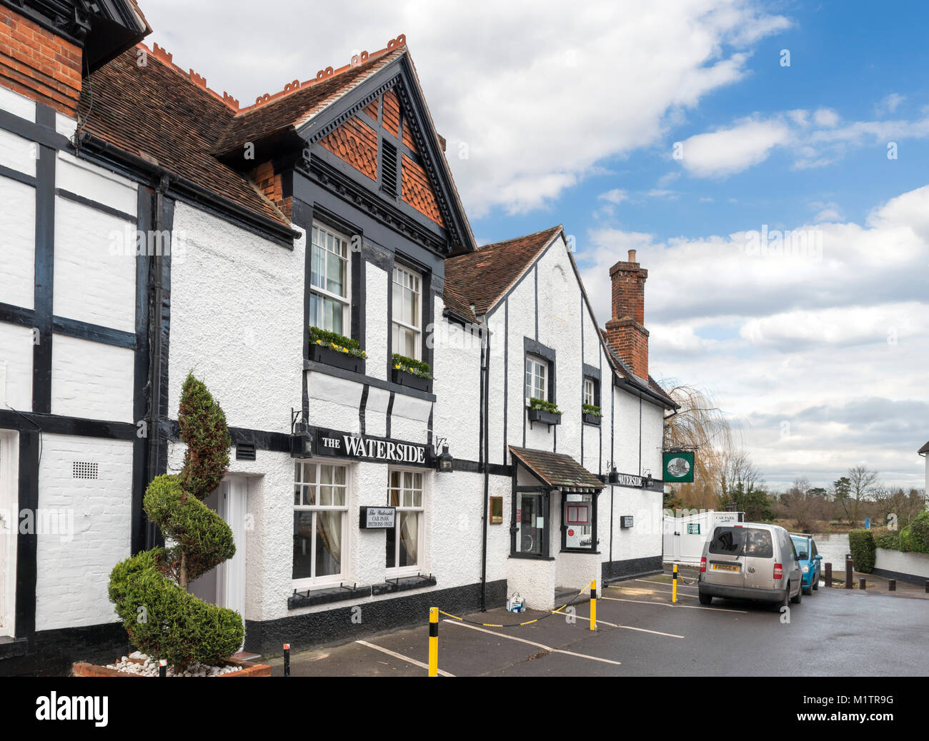 The Waterside Inn, Bray, Maidenhead, Berkshire, England, UK. The restaurant is one of only five restaurants in the - Stock Image