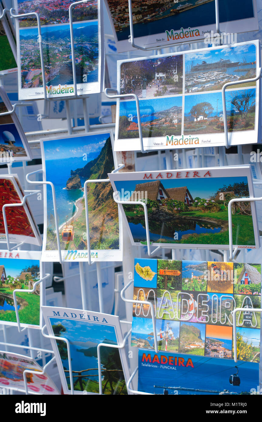 Close-up of a rack of colourful tourist postcards, Madeira, Portugal - John Gollop - Stock Image