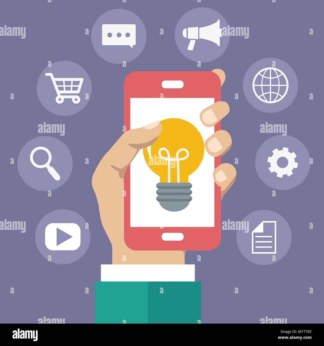 Advertising concept. Marketing service icon. Man holding mobile phone with light bulb on it. Flat vector illustration - Stock Image