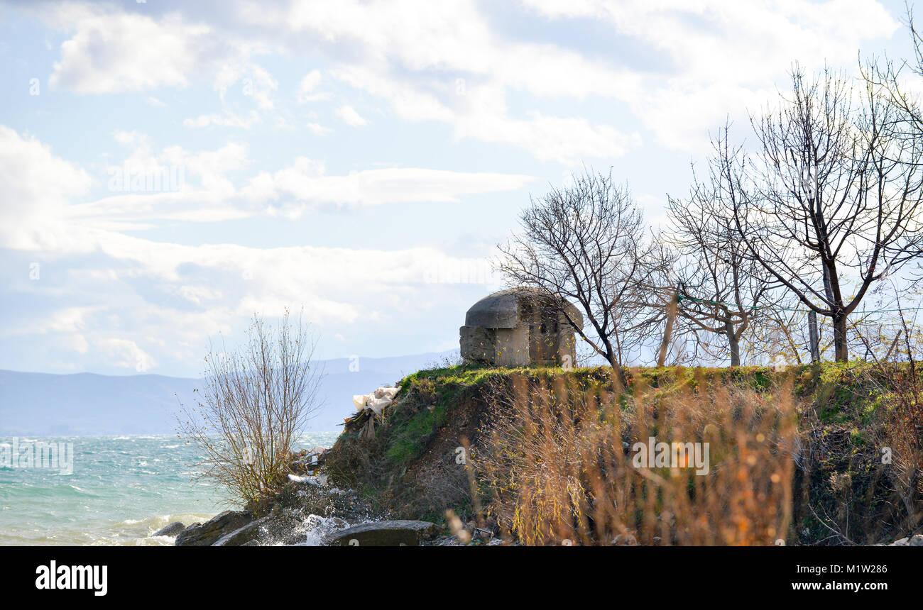 bunker on hill lake ohird pogradeci albania image - Stock Image