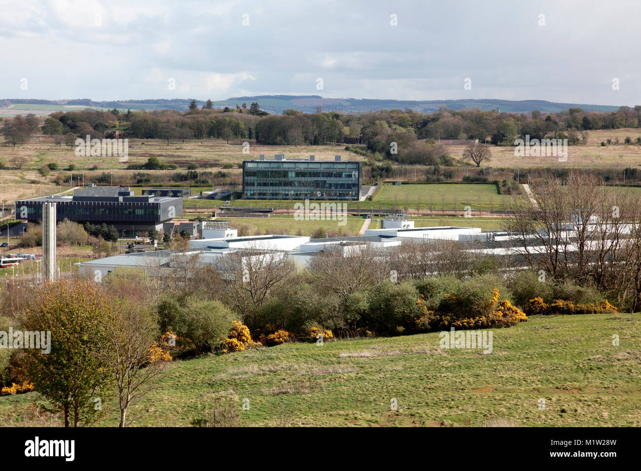 The Royal Infirmary of Edinburgh (RIE) built on a mainly green field site in Little France, seen from Craigmillar - Stock Image