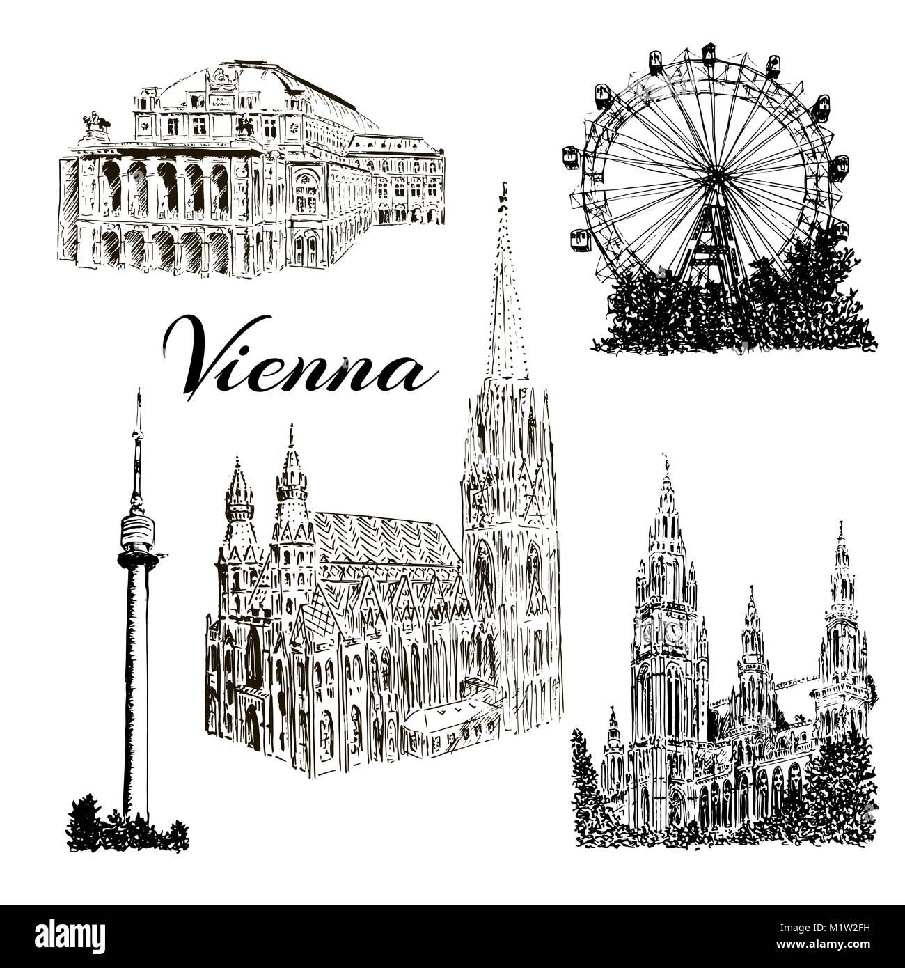 Set of Vienna symbols Vector hand drawn ink pen sketch illustration. Donauturm, Stephansdom, Rathaus, Prater - Stock Vector