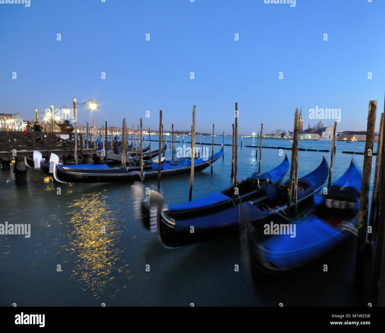 Gondolas in the Bacino di San Marco, Venice, Italy - Stock Image