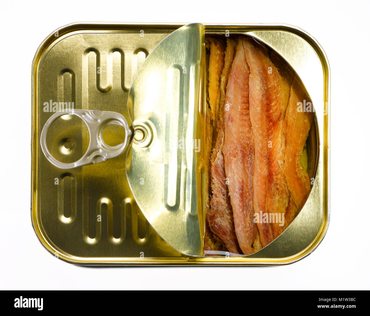 High Angle View of Half-Open Can of Anchovy Fillets against White Background - Stock Image