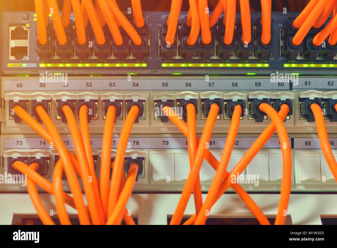 Information Technology Computer Network, Telecommunication Ethernet Cables Connected to Internet Switch. Stock Photo