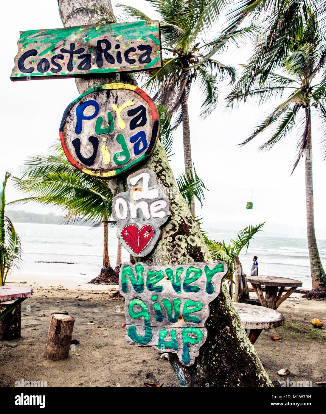 Collection Of Signs Puerto Viejo Costa Rica Central Americas - Stock Image