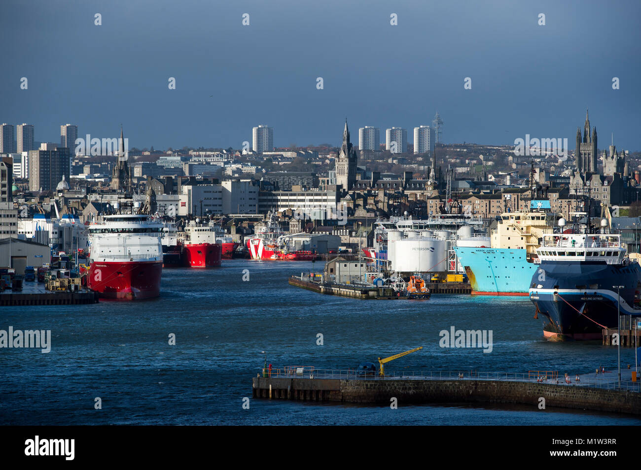 February 1st 2018: A view of Aberdeen harbour and city centre, Aberdeen, Scotland, UK . Stock Photo