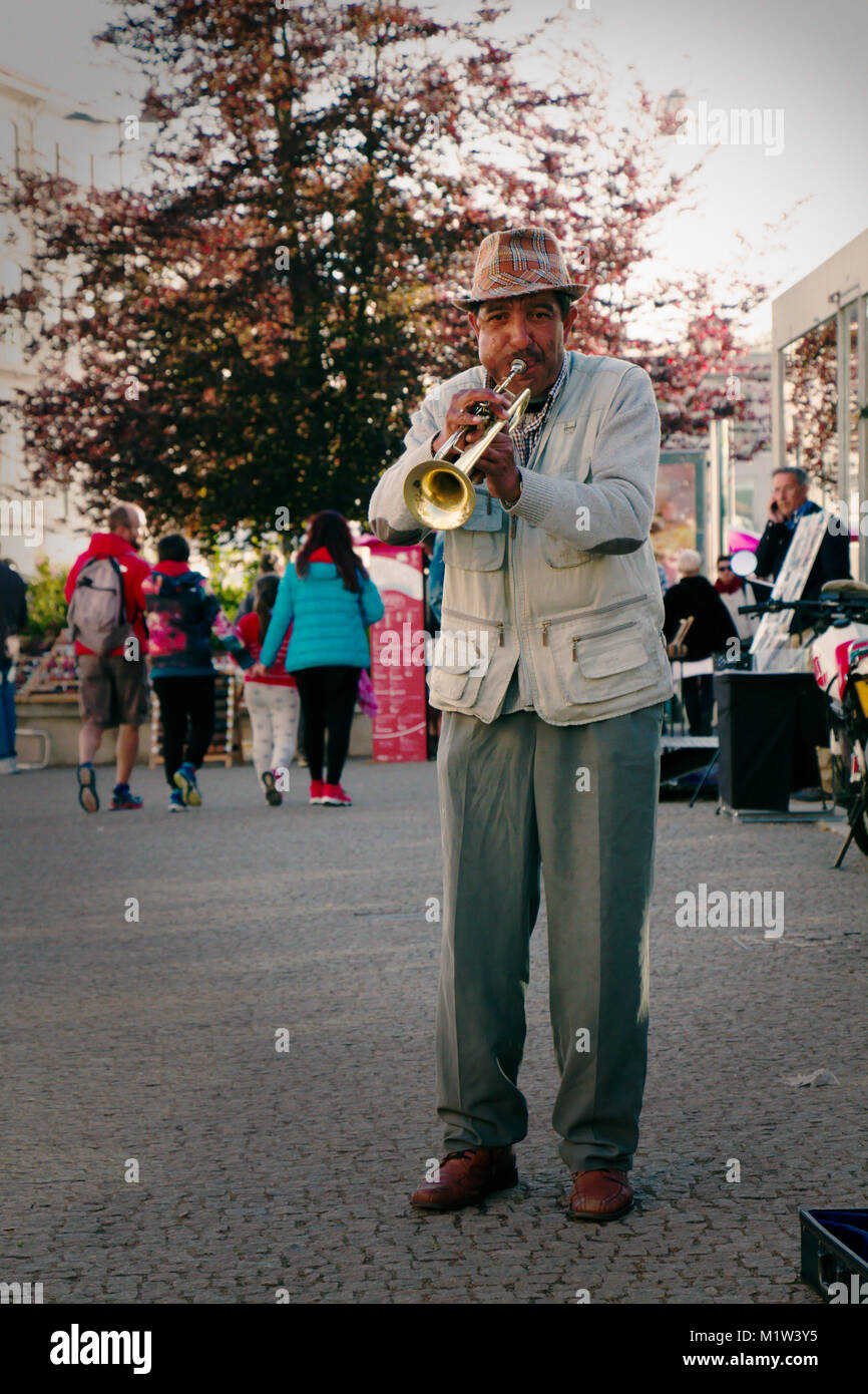 The street trumpet player in Porto - Stock Image
