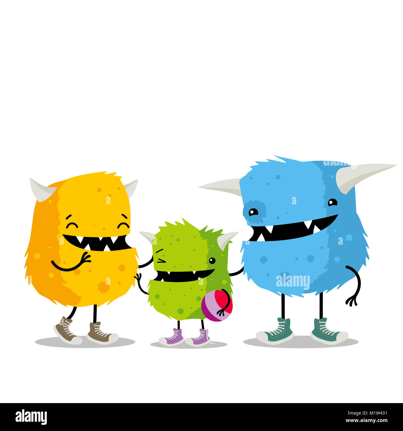 Family Of Three Monsters Yellow Mother Blue Father And Green Child Stock Photo Alamy