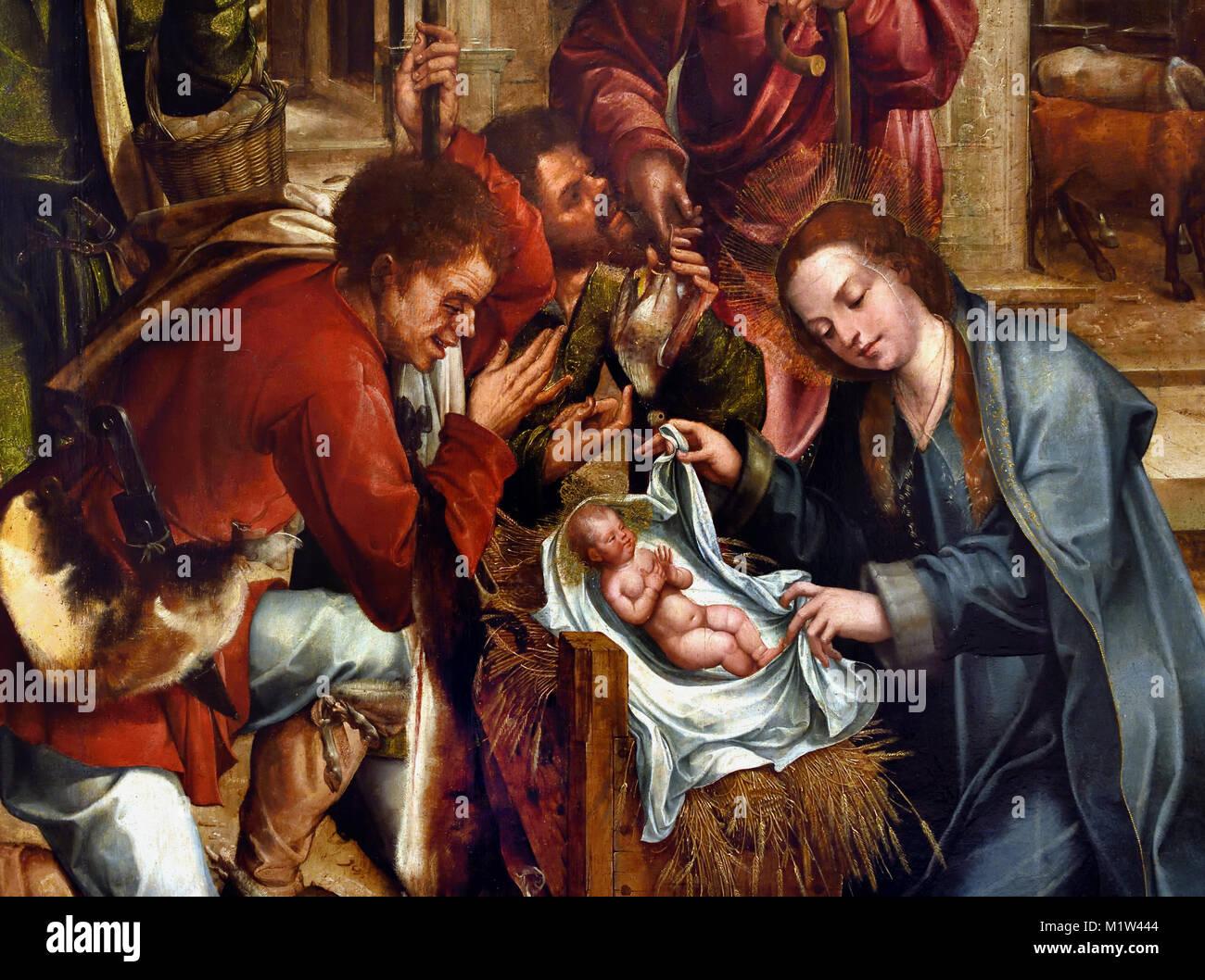 Adoration of the Pastors (1539-41) Altarpiece of Santos o Novo ( monastery of Santo o Novo ) 1540-1545 Gregrorio - Stock Image