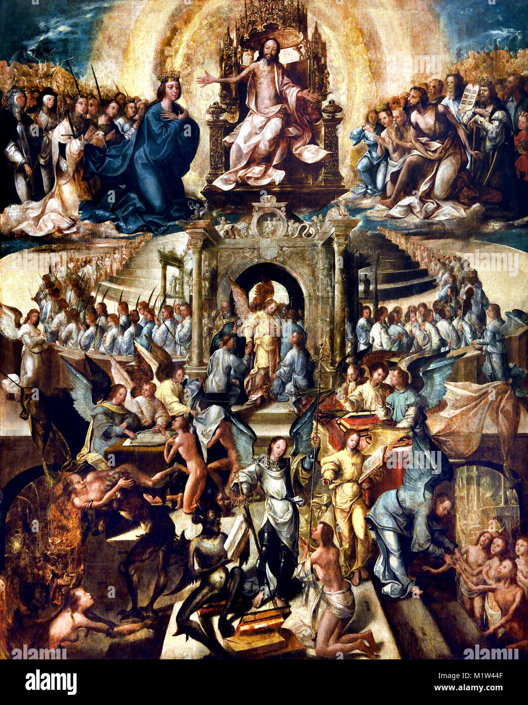 Universal Judgment (1540-50)  master of 1549 16th-century Portugal, Portuguese, ( Last Judgment, Final Judgment, - Stock Image