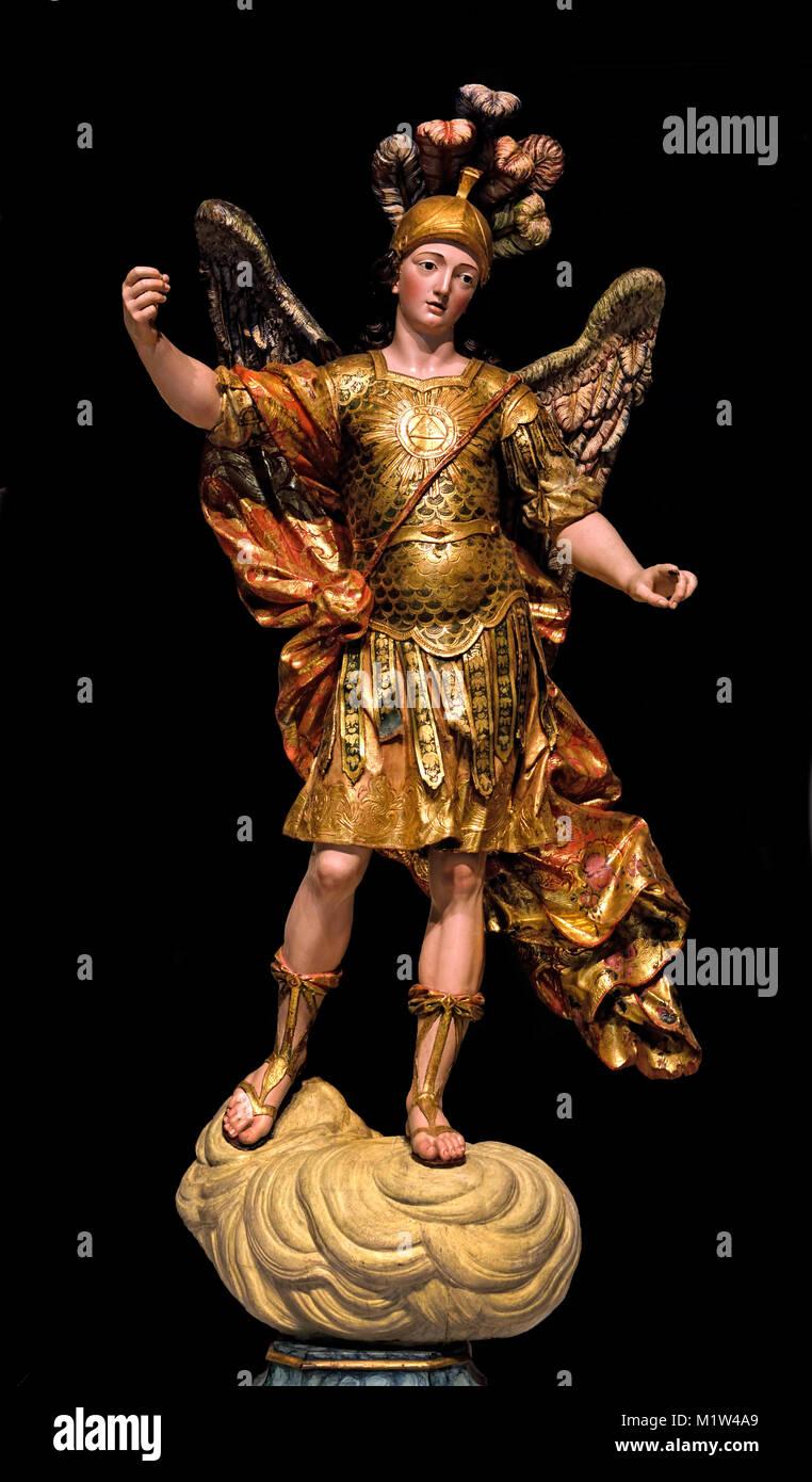 Archangel San Michael - São Miguel 18th century,  Portugese, Portugal, - Stock Image