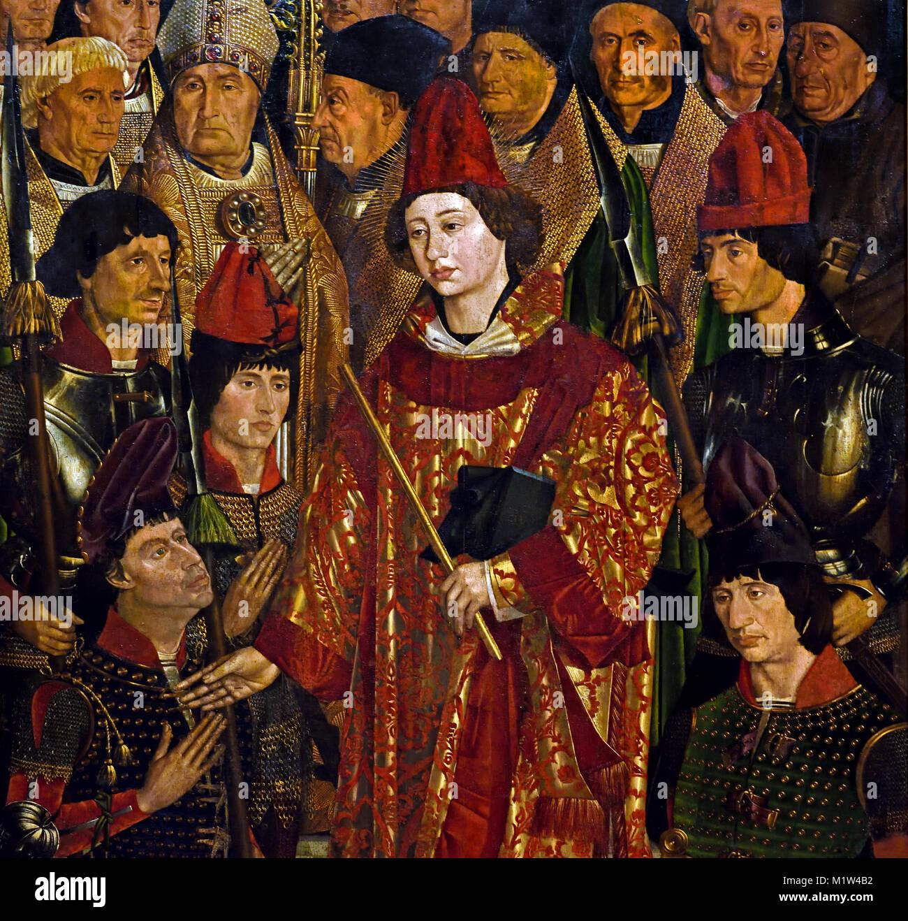 The Saint Vincent Panels - Adoration of Saint Vincent panels 1450 Nuno Gonçalves, who was active from 1450 - Stock Image