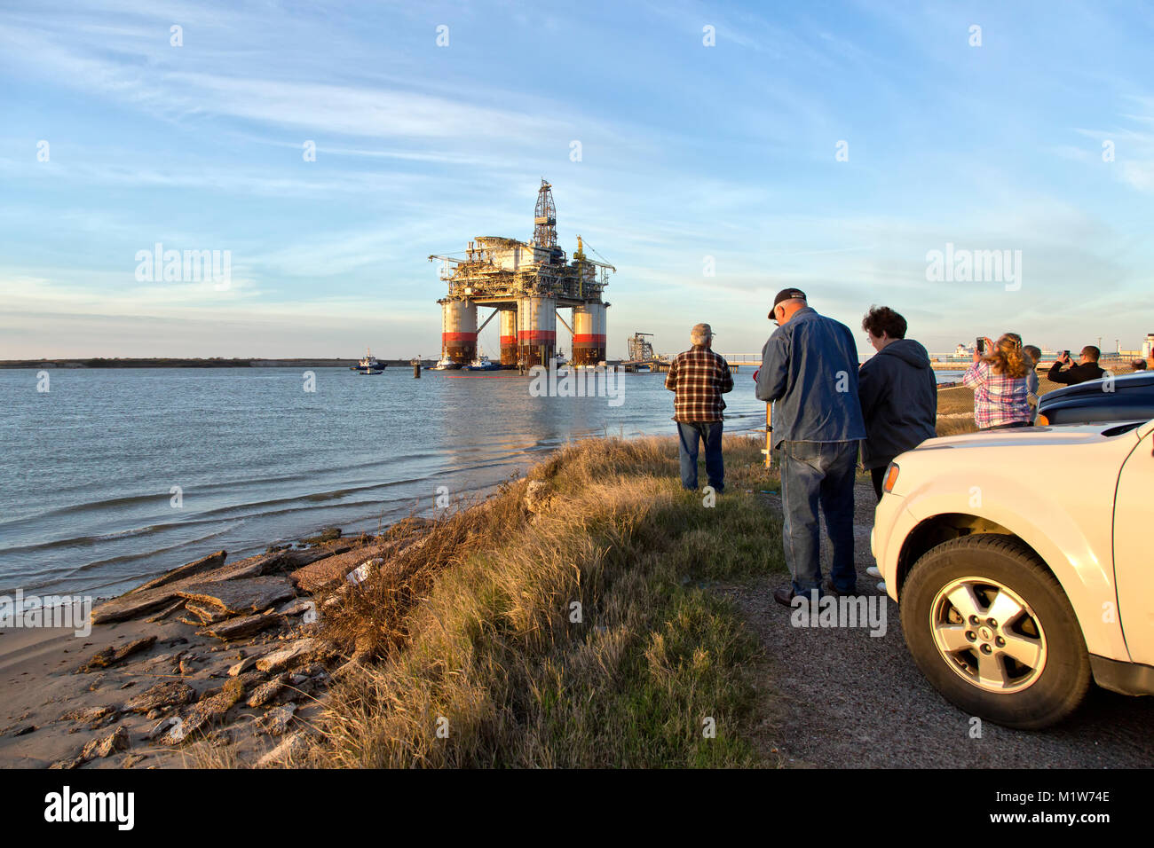 'Big Foot' Chevron's Offshore Ocean platform, oil & natural gas drill rig, departed Ingleside. - Stock Image