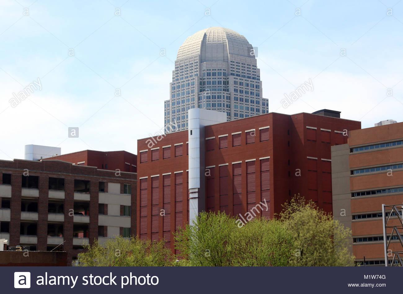 View of Downtown Winston-Salem, North Carolina Skyline Stock Photo