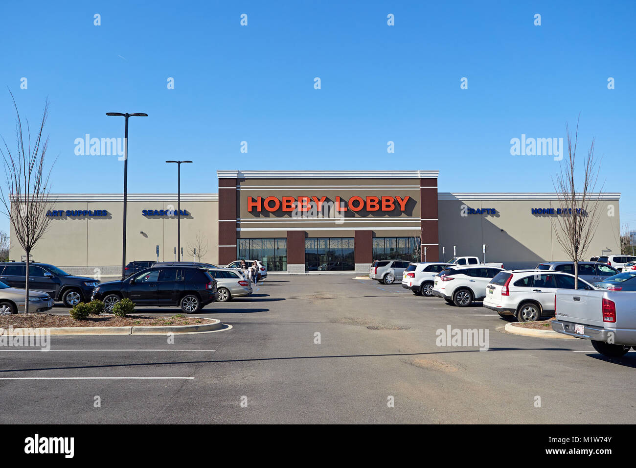 Front exterior entrance to the Hobby Lobby arts and crafts store in Montgomery Alabama, USA. - Stock Image