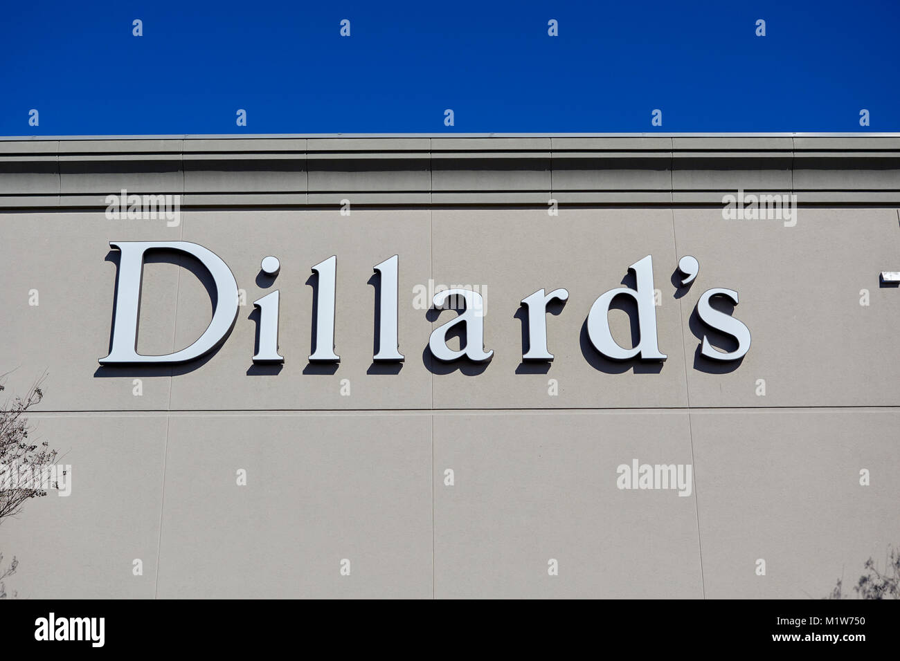 Dillard's Department Store sign, and corporate logo for the mall chain anchor store in Montgomery Alabama, United - Stock Image