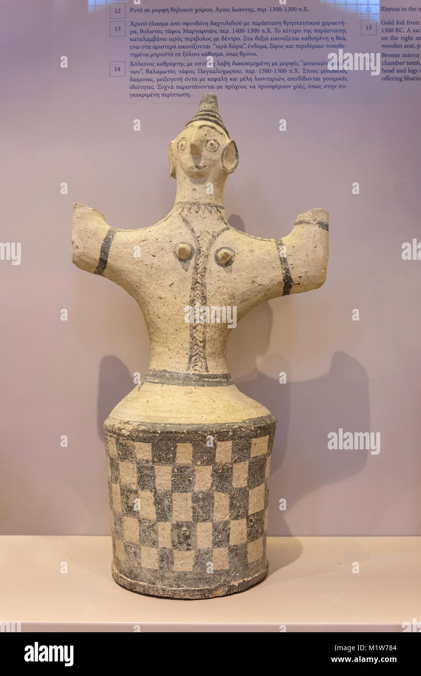 Figurene of goddess with upraised arms, Pankalochori (1200BC), Archaelogical Museum of Rethymno, Old Town, Rethymnon - Stock Image