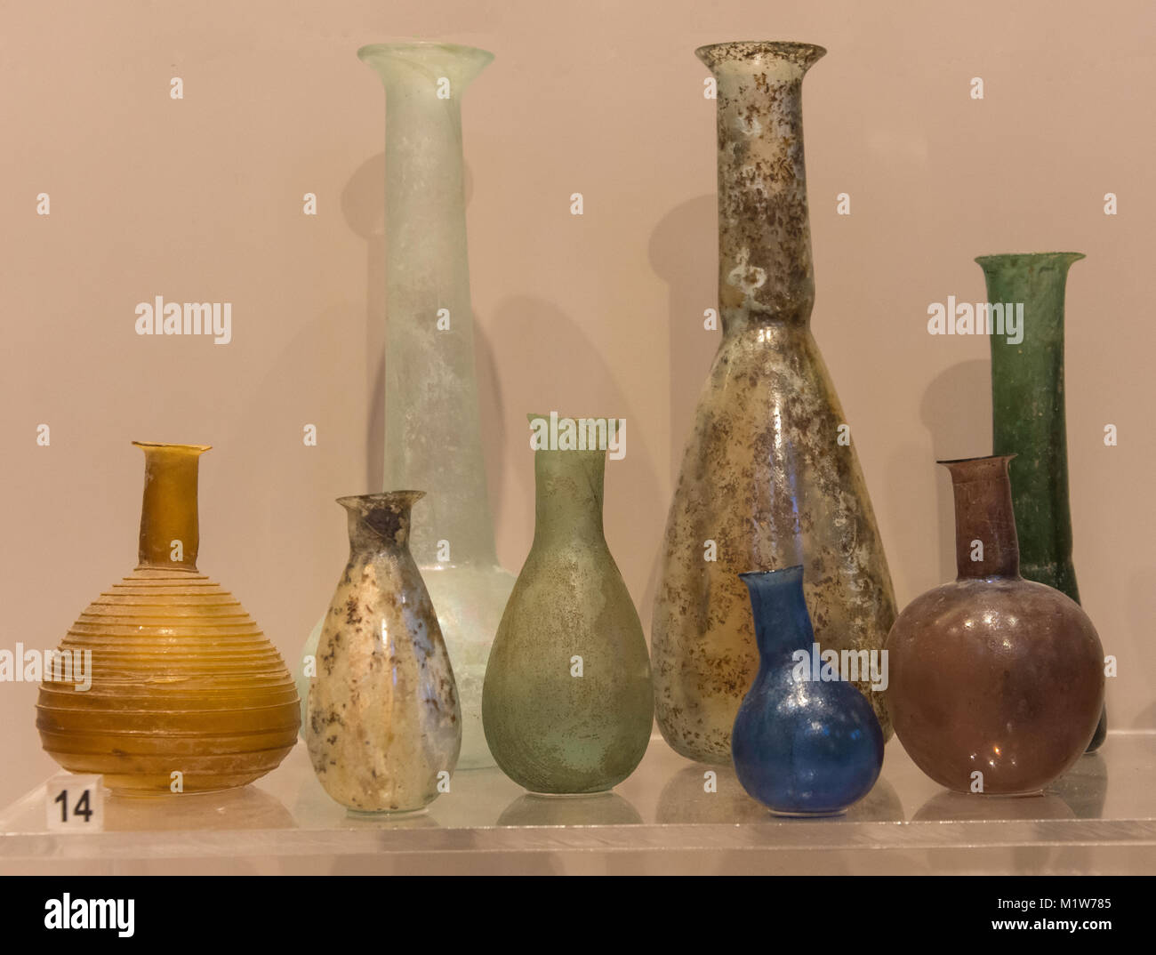Roman glass perfume bottles, Stavromenos,(2nd century AD), Archaelogical Museum of Rethymno, Old Town, Rethymnon - Stock Image