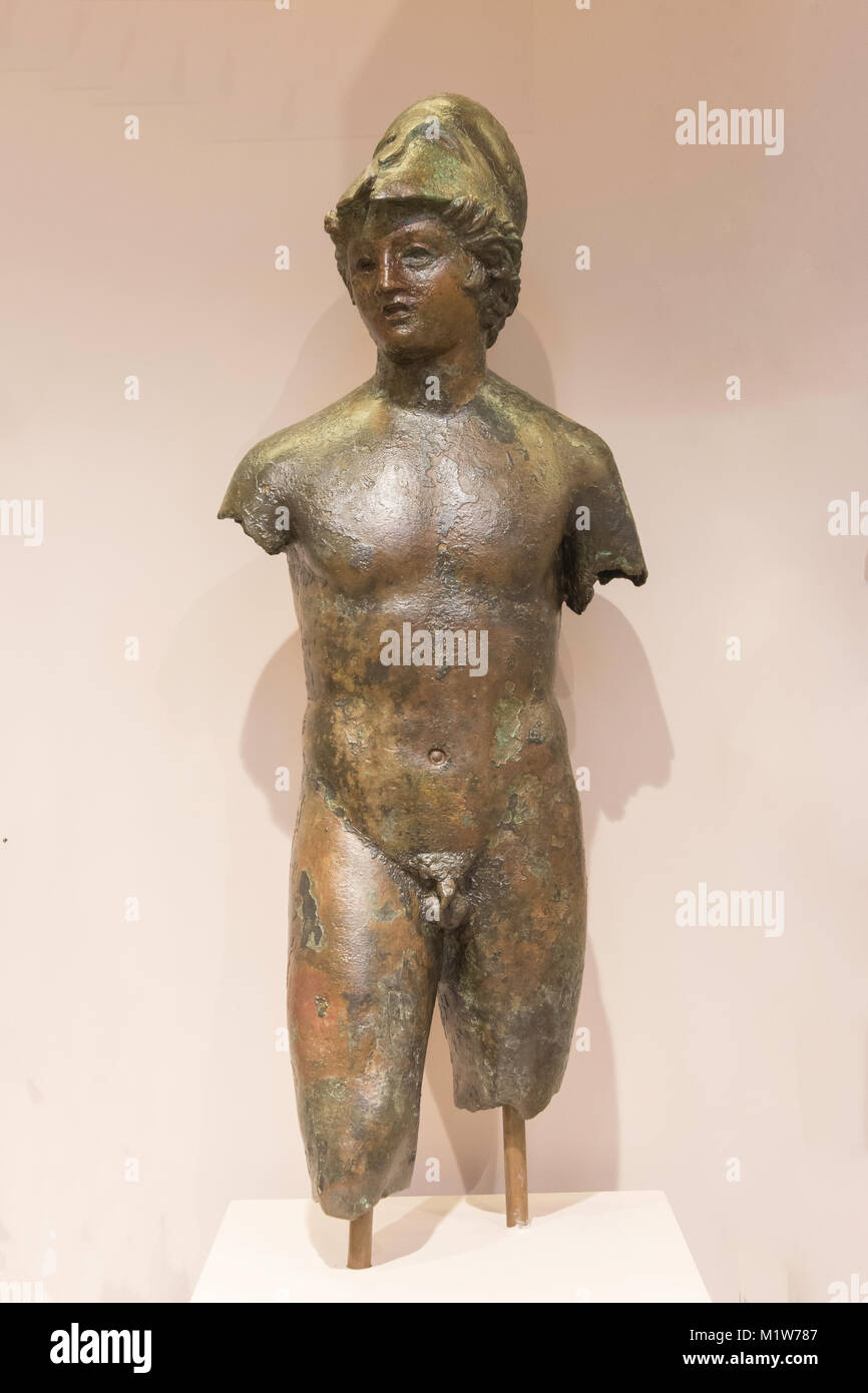 Statuette of young man (1st century BC) in Archaelogical Museum of Rethymno, Old Town, Rethymnon (Rethimno), Crete - Stock Image