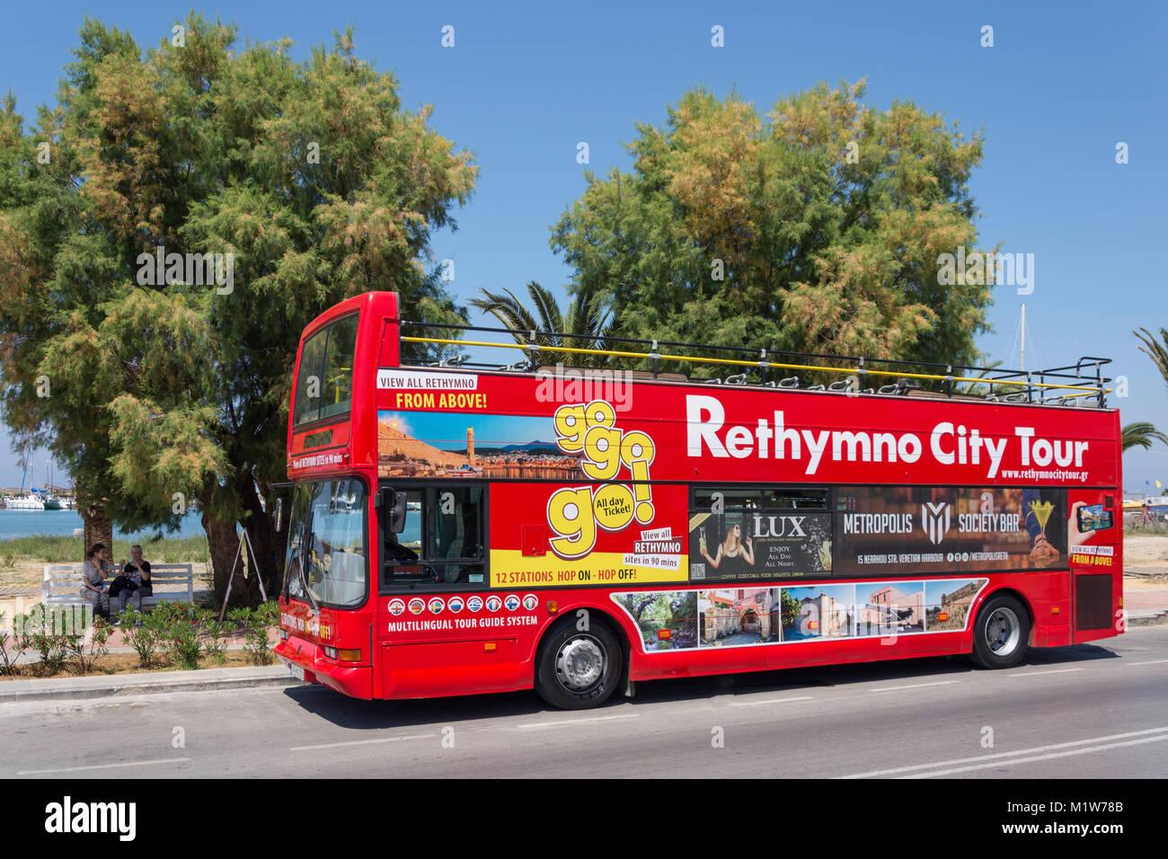 Open-top Rethymno City Tour bus, Sofokli Venizelou, Rethymnon (Rethymno), Rethymno Region, Crete (Kriti), Greece Stock Photo