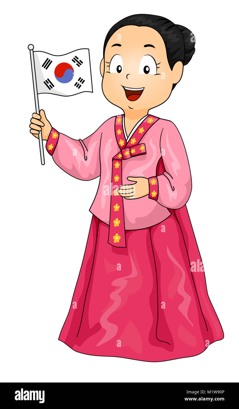 Illustration Of A Kid Girl Wearing A Hanbok And Holding A Korean