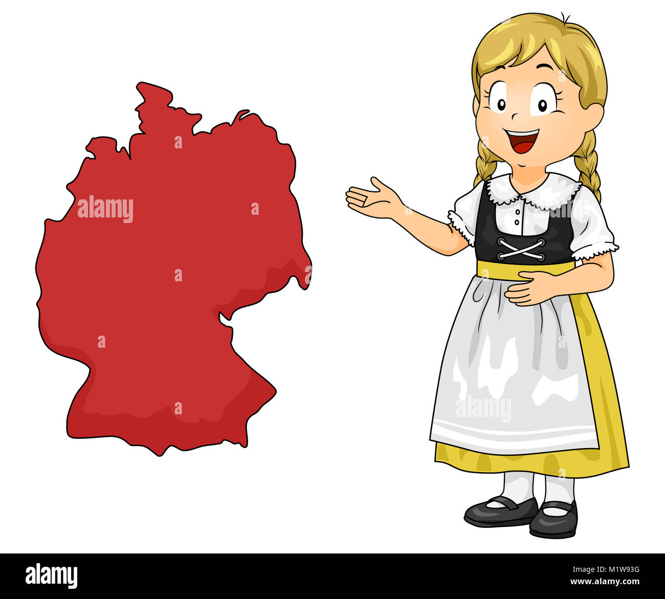 Cartoon Map Of Germany.Illustration Of A Kid Girl Wearing German National Costume