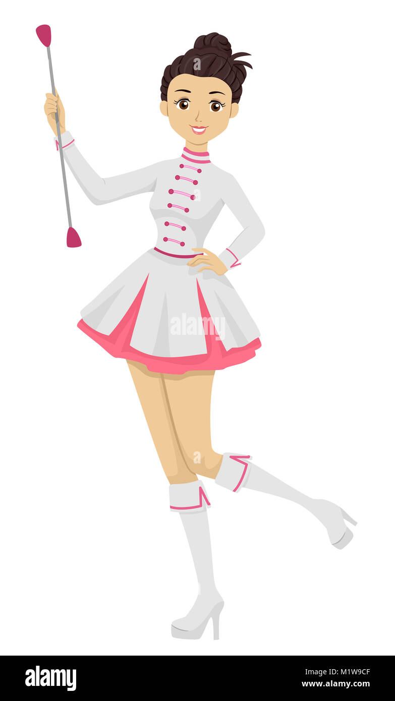 5c5dbcc9e59c Illustration Featuring a Young Teenage Girl in a Majorette Uniform Playing  With Her Baton