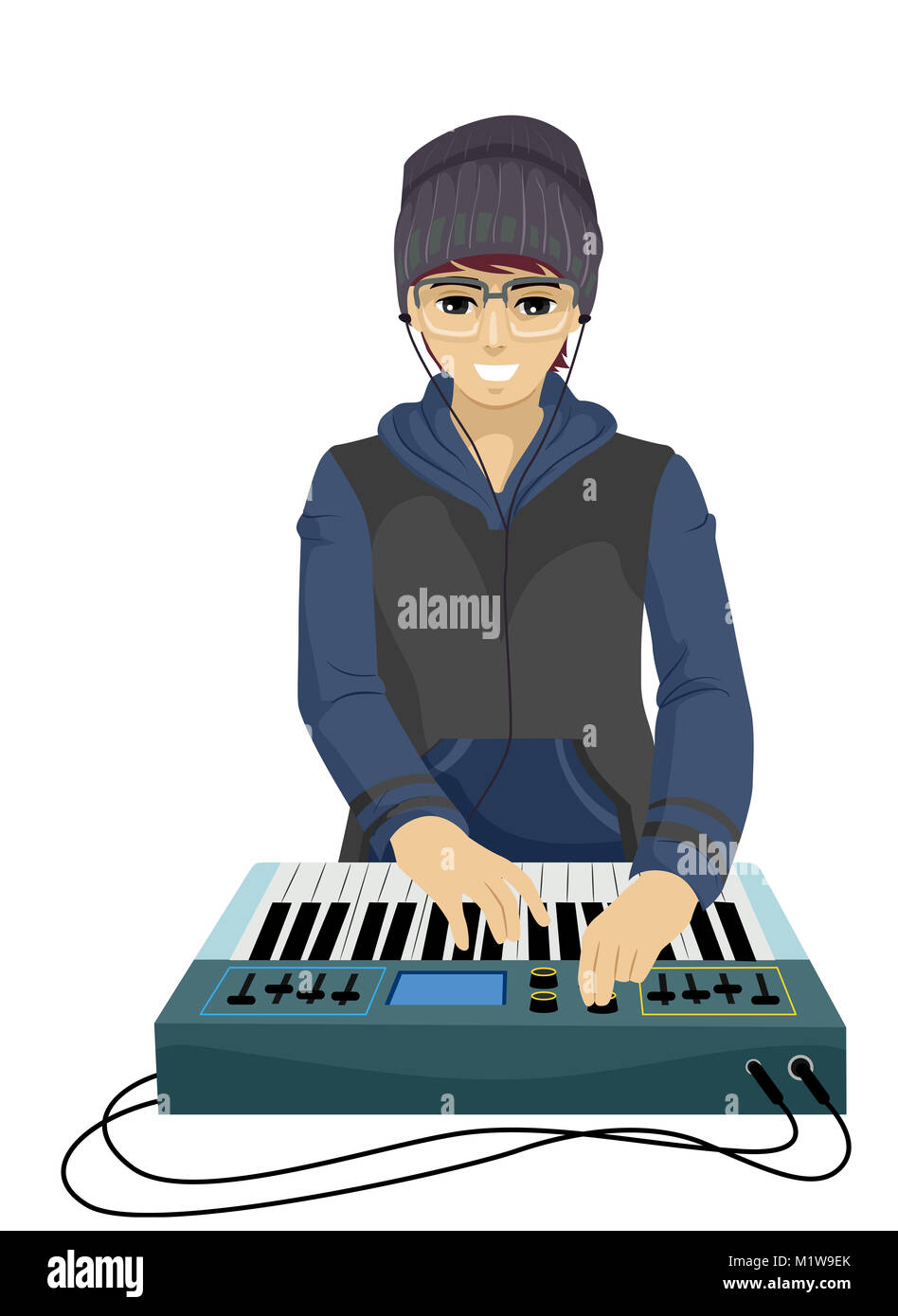 Illustration Featuring a Young Teenage Guy Playing With a Music Synthesizer - Stock Image