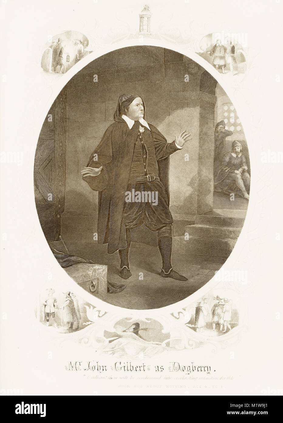 Engraving of the Shakespearean character Dogberry, acted by an American, John Gilbert in Much ado About Nothing. - Stock Image