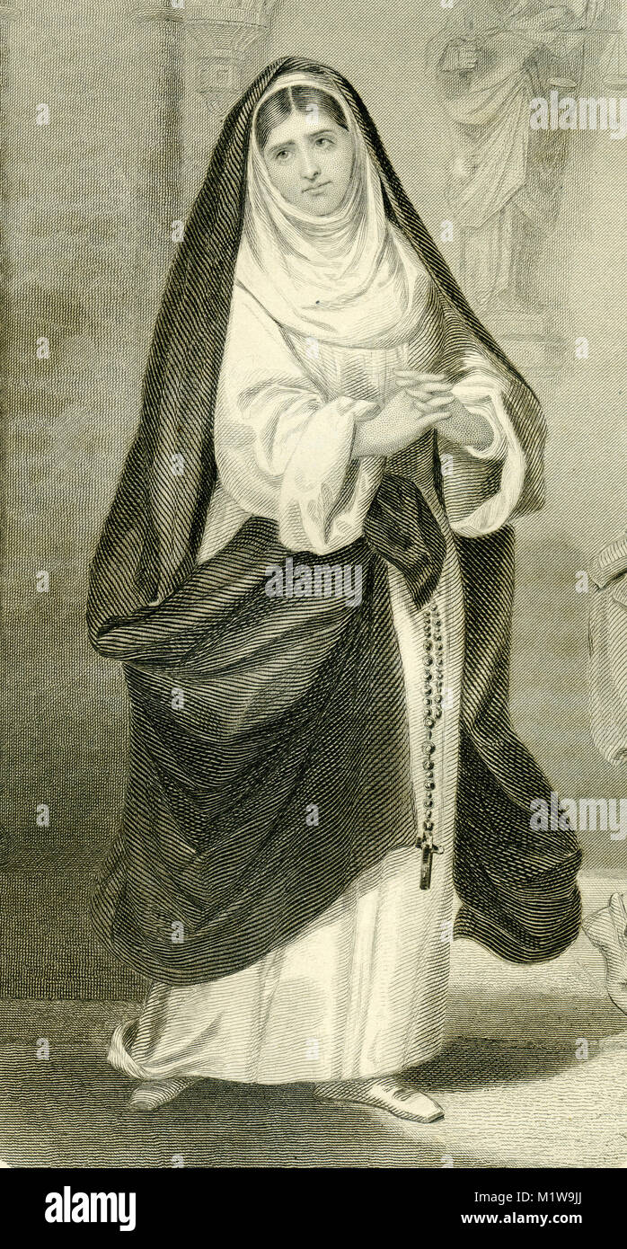 Engraving of the Shakespearean character Isabella, acted by an American, Fanny Kemple. From the Illustrated Complete - Stock Image