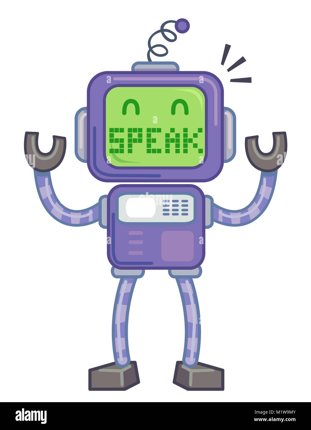 Concept Illustration Featuring a Robot with the Word Speak Written on its Face - Stock Image