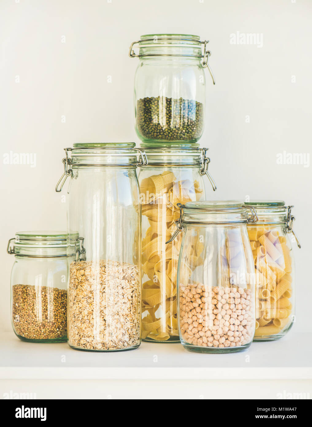Raw cereals, grains, beans and pasta for healthy cooking Stock Photo