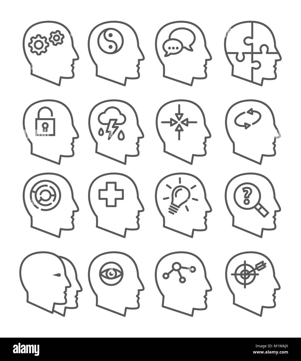 Psychology line vector icons set - Stock Image