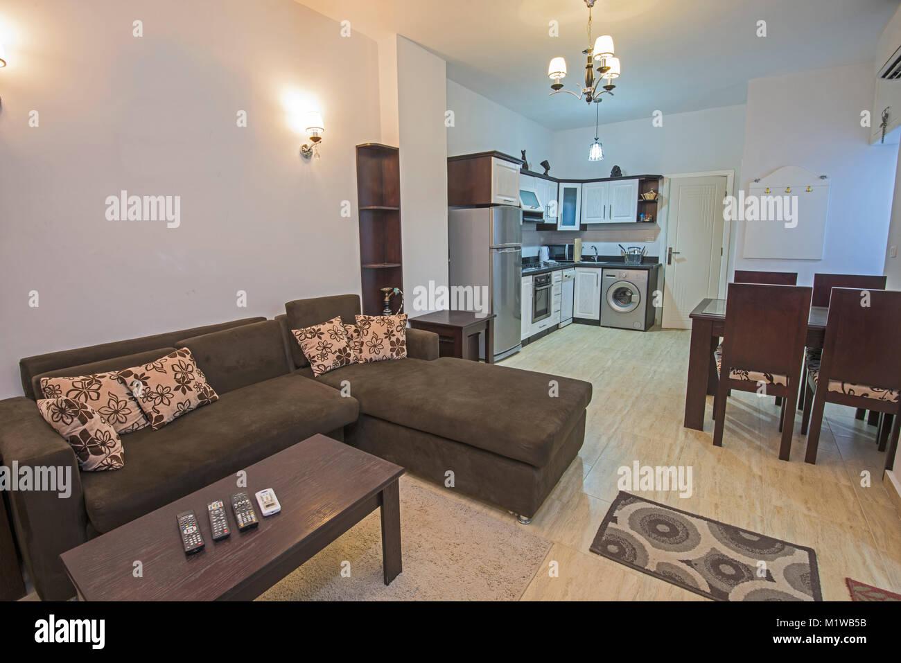 Interior Design Decor Of An Open Plan Apartment Living Room Kitchen Stock Photo Alamy
