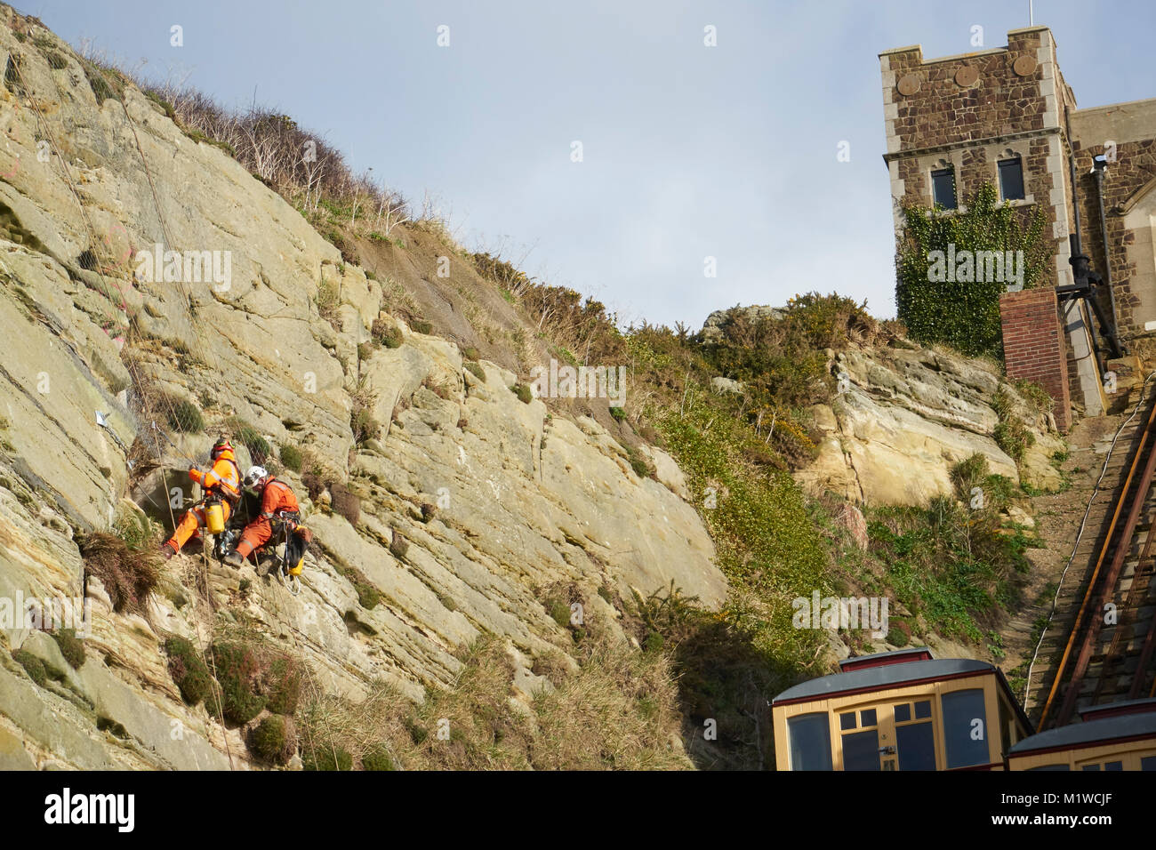 Hastings, specialist engineers stabilising the East Hill Cliff face, by the Cliff lift, Rock-a-Nore, East Sussex, - Stock Image