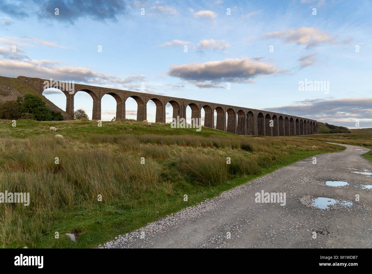 The Ribblehead Viaduct on the Settle-Carlisle Railway, near Ingleton in the Yorkshire Dales, North Yorkshire, UK - Stock Image