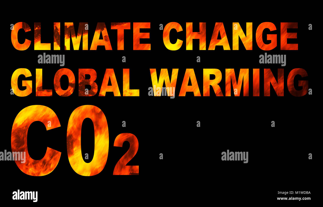 climate change spelled out with fire. - Stock Image
