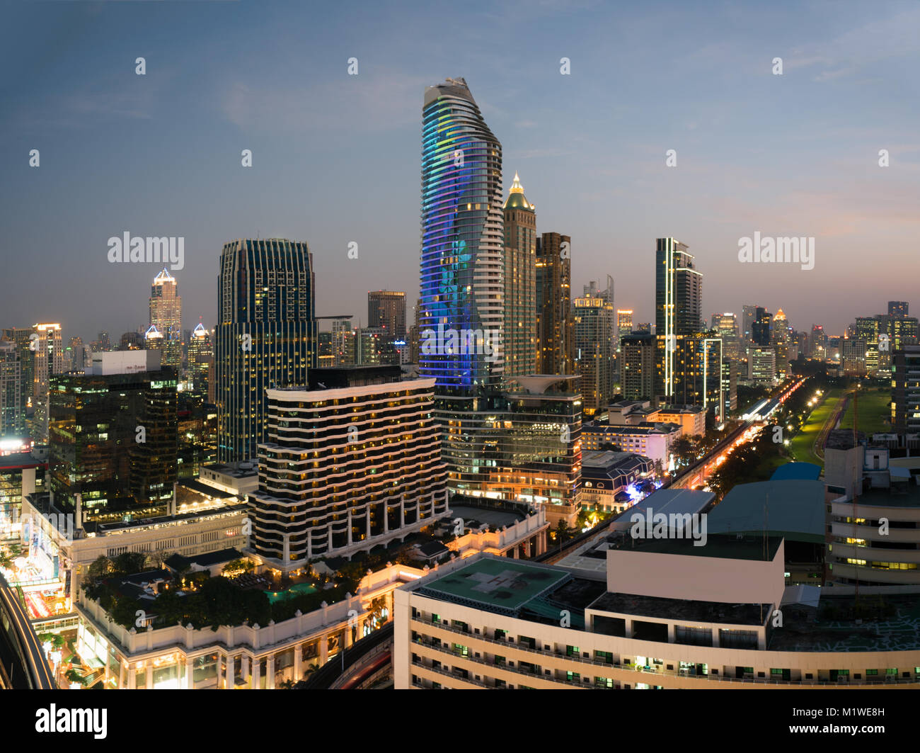 Modern building in Bangkok business district at Bangkok city with skyline before sunset, Thailand. - Stock Image