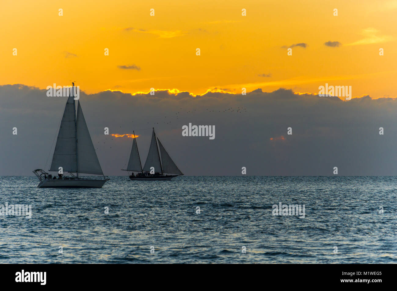 USA, Florida, Orange sunset behind clouds at key west with two sailing boats on the water - Stock Image