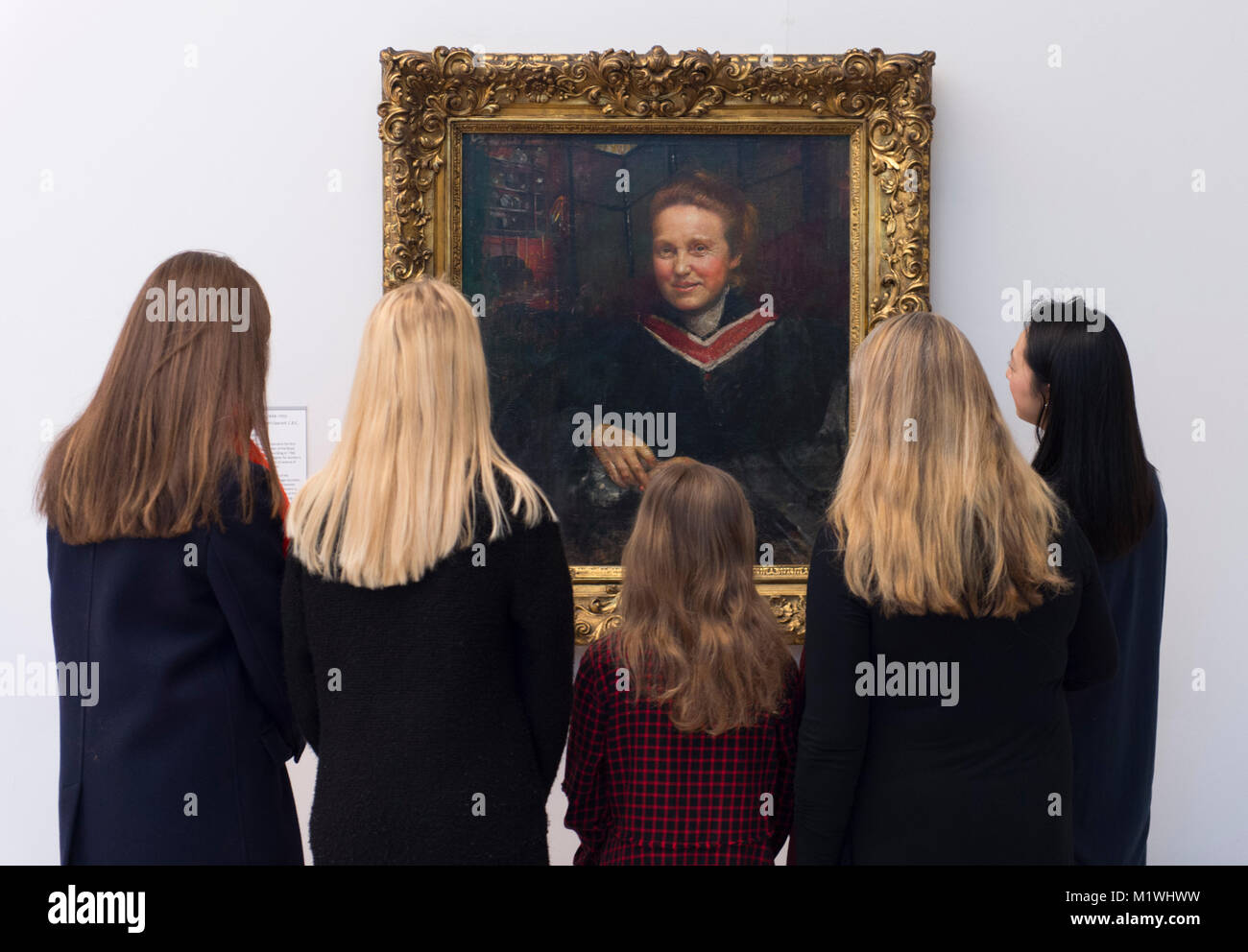 London, UK. 2nd Feb, 2018. Annie Swynnerton's portrait of Millicent Fawcett, newly on display at Tate Britain to - Stock Image